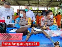 Polres Sanggau Berhasil Ungkap 98 Kasus Pada Operasi Pekat Kapuas 2021